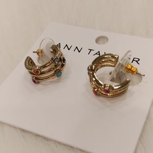 ANN TAYLOR CRYSTAL TRIPLE HOOP EARRINGS